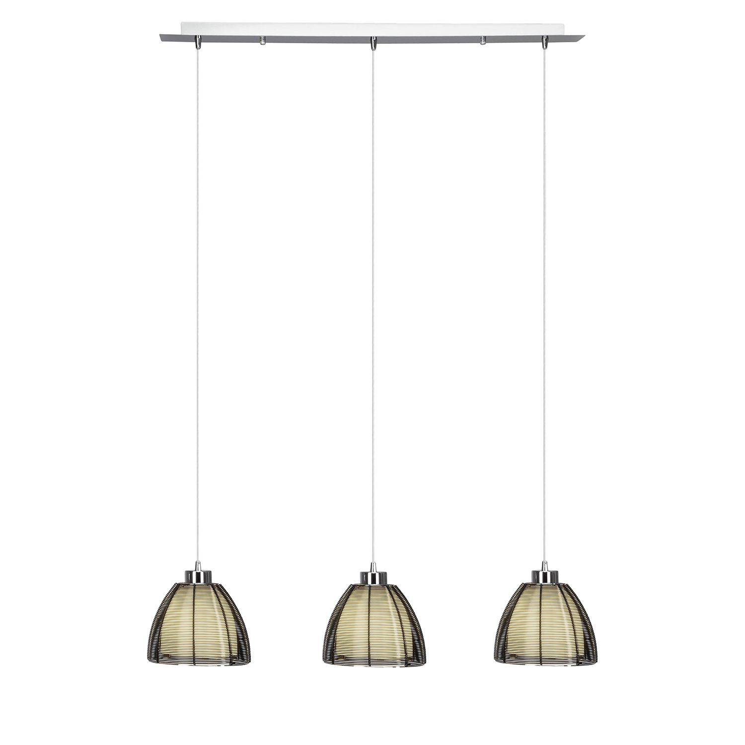 EEK A++, Suspension Relax II- Verre / Fer - 3 ampoules - Noir, Brilliant Living