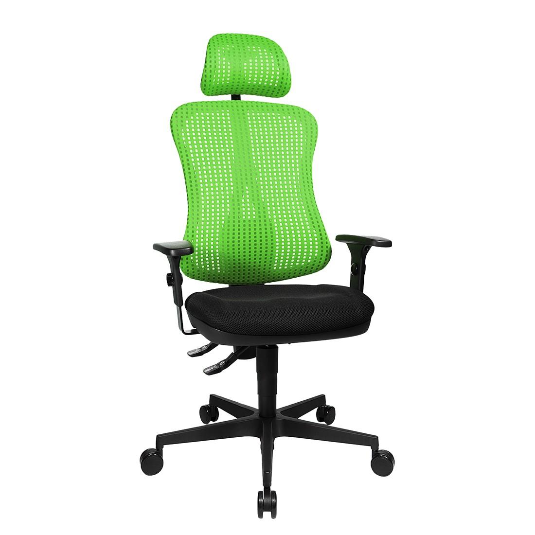 Bürodrehstuhl Head Point - Höhenverstellbare Armlehnen - Mit Kopfstütze - Grün / Schwarz, Topstar