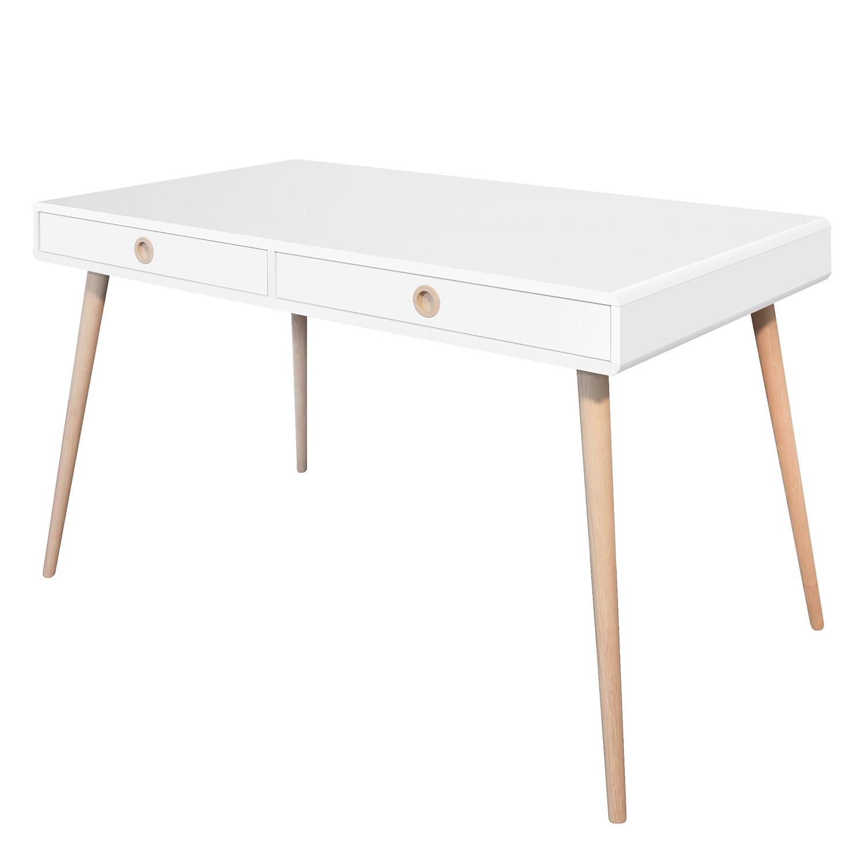 Schreibtisch Janos - Eiche teilmassiv - Weiß / Eiche - 130 x 70 cm, Steens