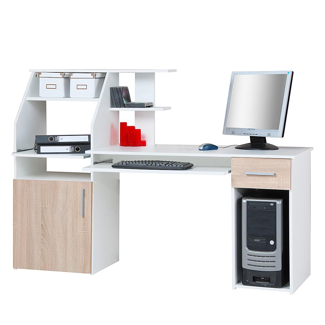 Bureau pour ordinateur Glen - Blanc perle / Imitation chêne de Sonoma, home24 office