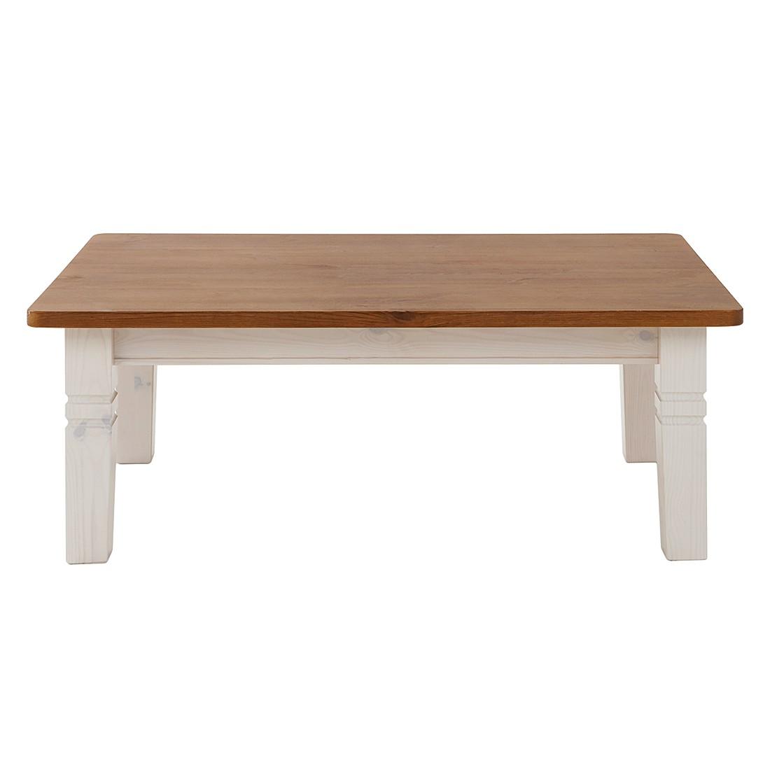 Tavolino da salotto Bergen - Pino massello color ambra/Bianco, Maison Belfort