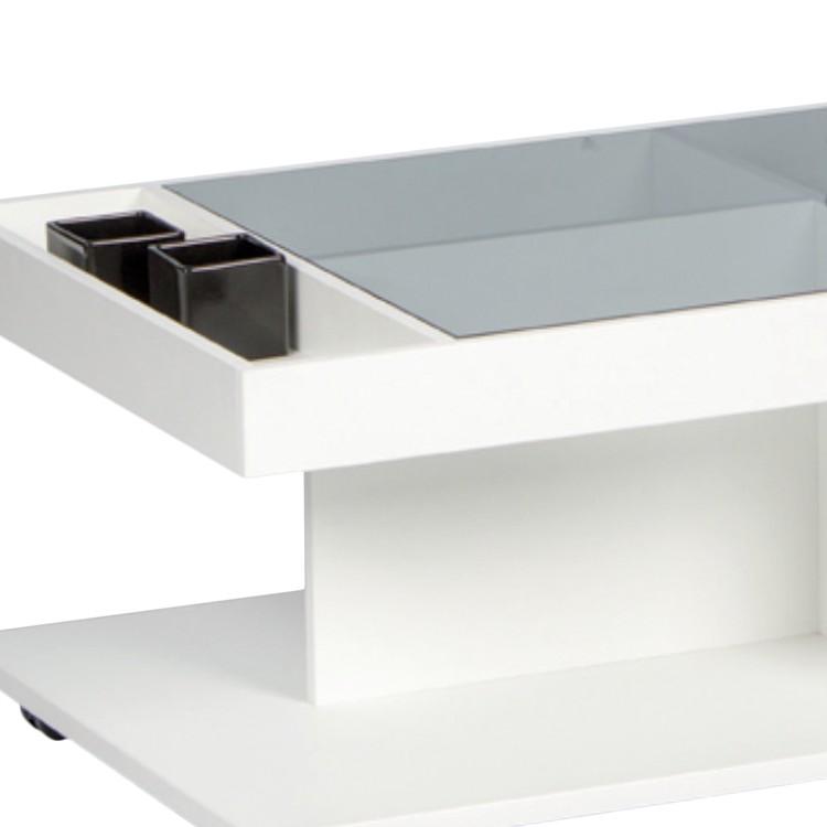 Couchtisch BROCKET in weiß / Absetzungen Parsoglas