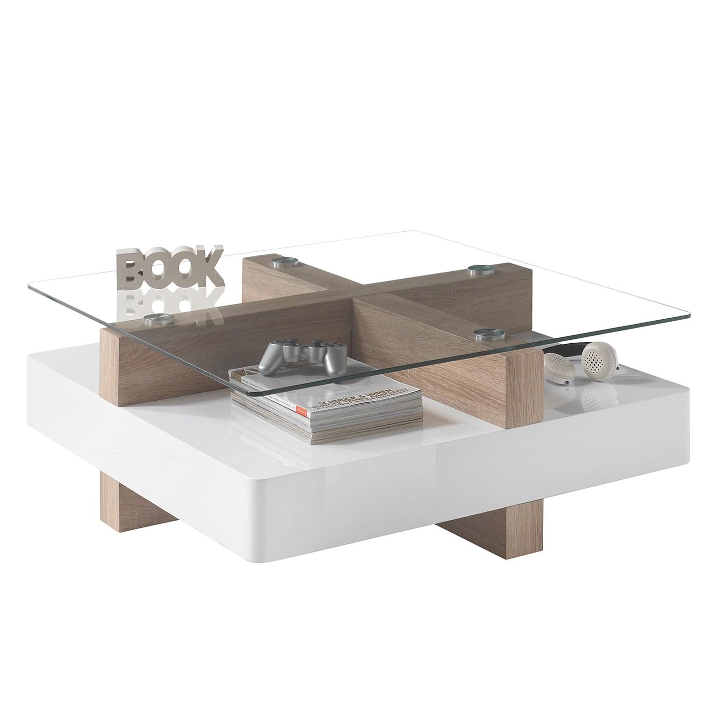 Table basse Fernie - Blanc brillant / Imitation chêne Sonoma, mooved
