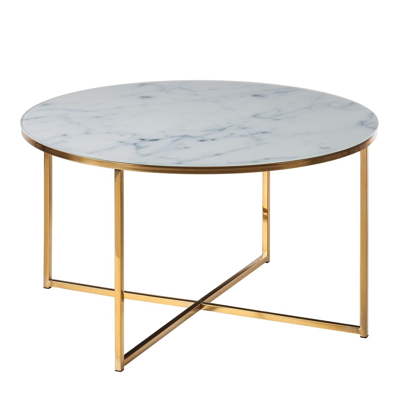 Table basse Katori I - Verre / Métal - Blanc / doré, Eva Padberg Collection