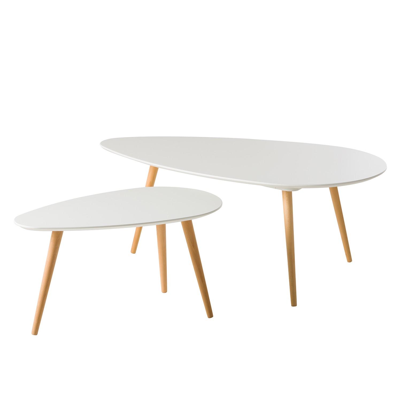 Tavolino da salotto Lilja (set 2) - Parzialmente in legno massello di faggio - Bianco opaco, Morteens