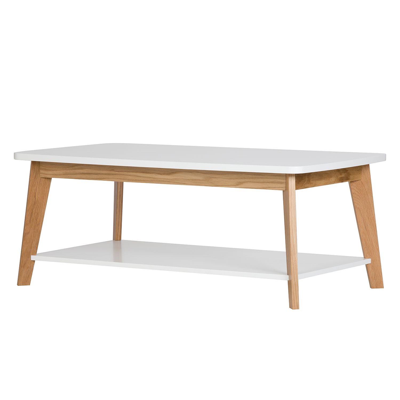 Table basse Nante - Chêne partiellement massif - Chêne / Blanc, Morteens