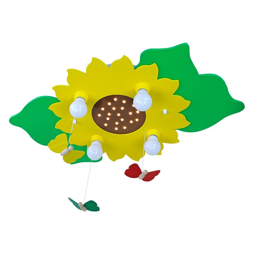 EEK A+, Deckenleuchte Blume/Blätter 4/20 - Holz...