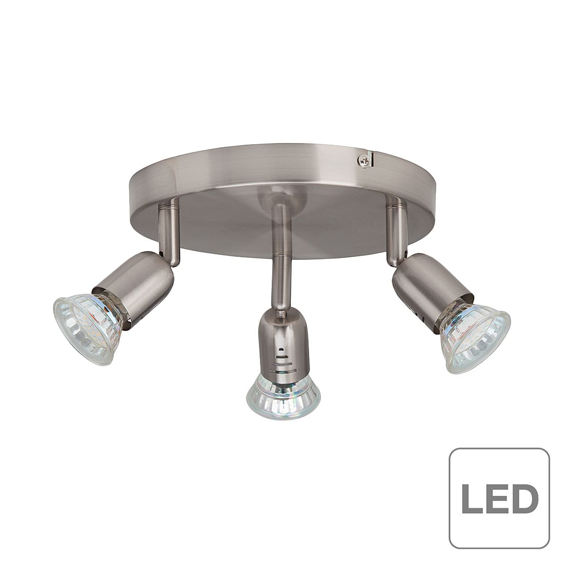 Brilliant Deckenleuchte Loona LED Modern Edelstahl Silber Ø 19 cm 3-flammig GU10 2W inkl. Leuchtmittel, Brilliant