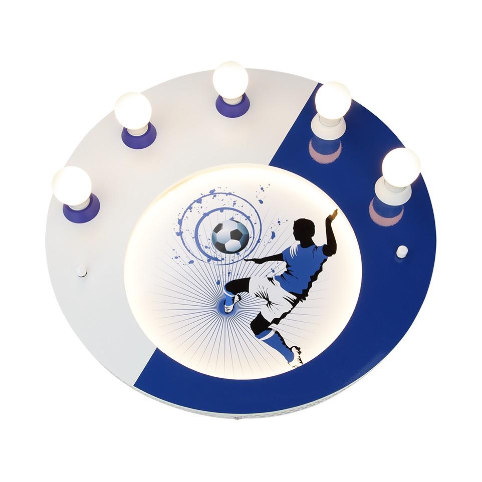 home24 Elobra Deckenleuchte Soccer 5/54 5-flammig Blau Holz LED Modern 50x8x50 cm (BxHxT) E14