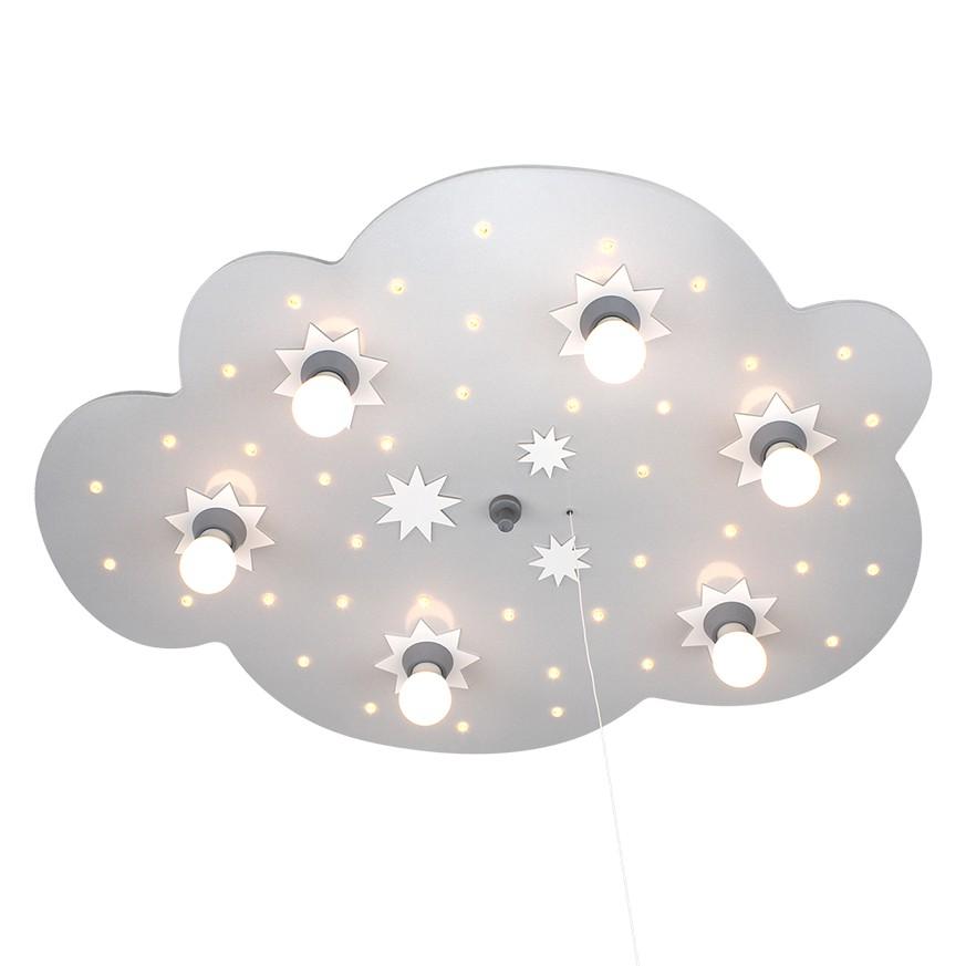 home24 Elobra Deckenleuchte Sternenwolke 6/40 6-flammig Silber Holz Dimmbar LED 60x80x8 cm (BxHxT) E14
