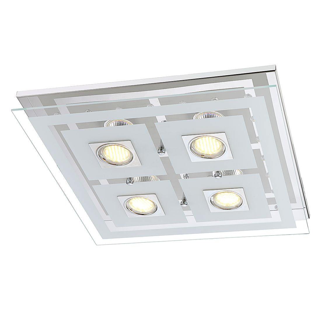 Plafondlamp Zoe metaal-glas 4 lichtbronnen, Action