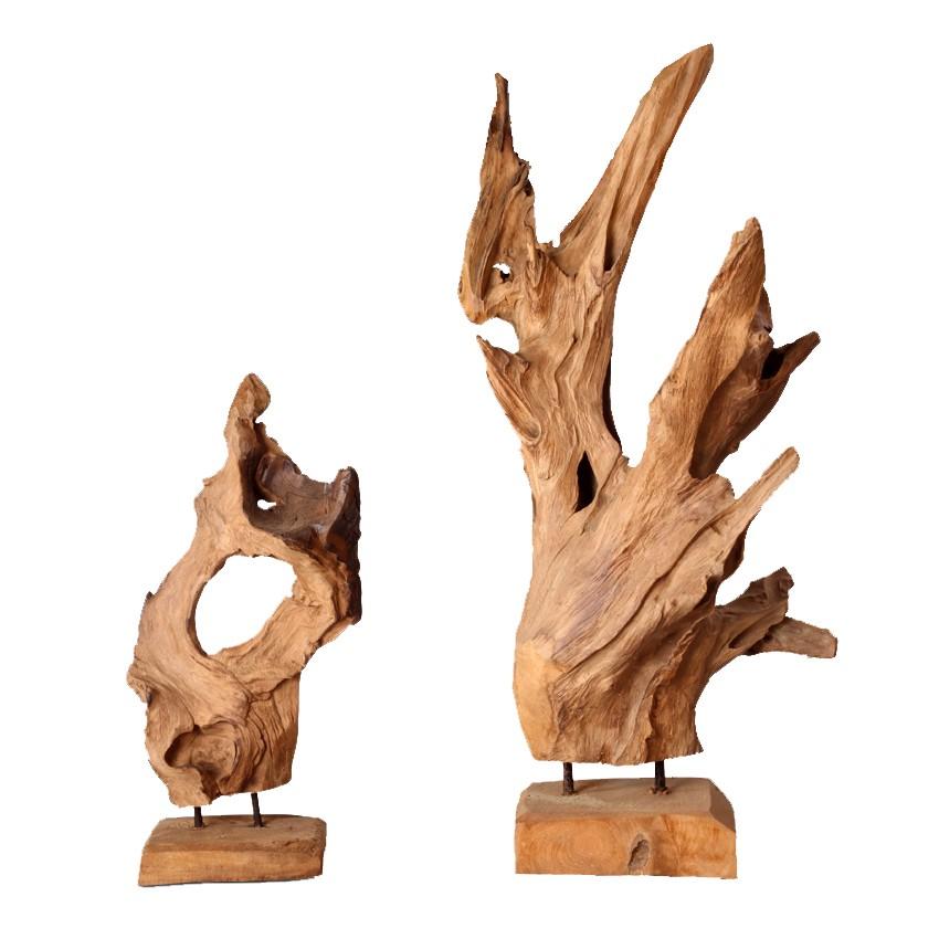 home24 Dekofigur Erosion I | Dekoration > Figuren und Skulpturen | Braun | Massivholz | Ploss