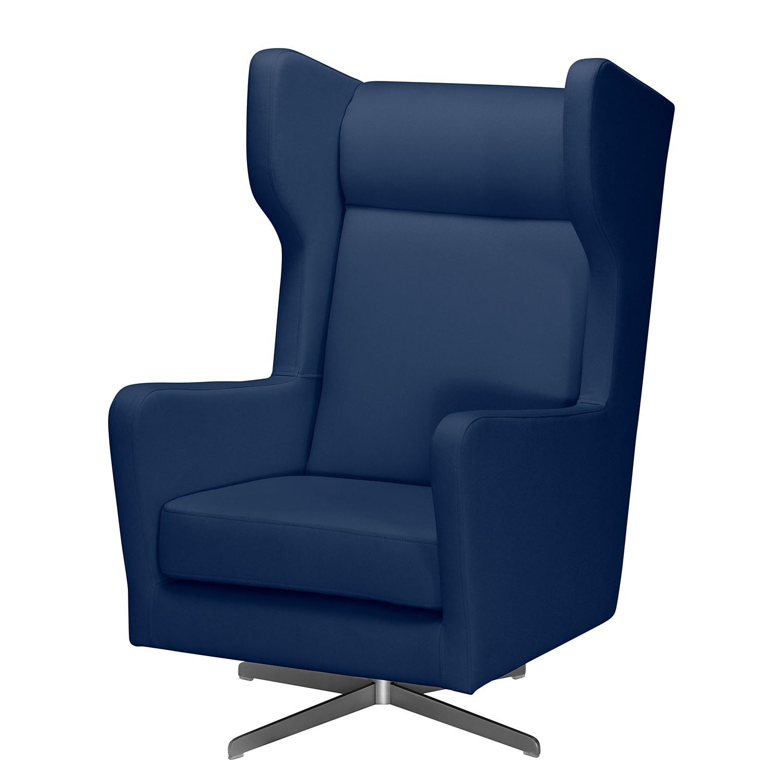 Fauteuil pivotant Bucoli - Tissu structuré - Bleu foncé, Morteens
