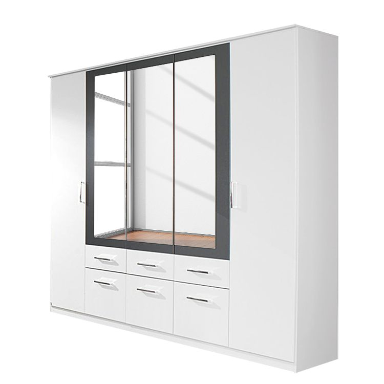 goedkoop Draaideur combinatiekast Burano alpinewit metallic grijs kastbreedte 271cm 6 deurs 2 spiegels 4 lades Rauch Packs