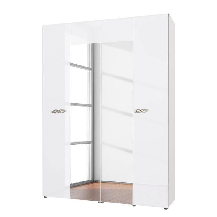 goedkoop Draaideurkast Ambrosia hoogglans wit 159cm 4 deurs 214cm 2 spiegeldeuren Zonder kroonlijst Lc Mobili