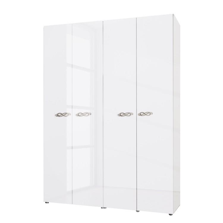 goedkoop Draaideurkast Ambrosia hoogglans wit 159cm 4 deurs 214cm Zonder spiegeldeuren Zonder kroonlijst Lc Mobili