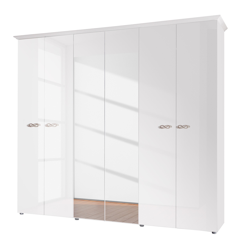 goedkoop Draaideurkast Ambrosia hoogglans wit 237cm 6 deurs 214cm 2 spiegeldeuren Met kroonlijst Lc Mobili