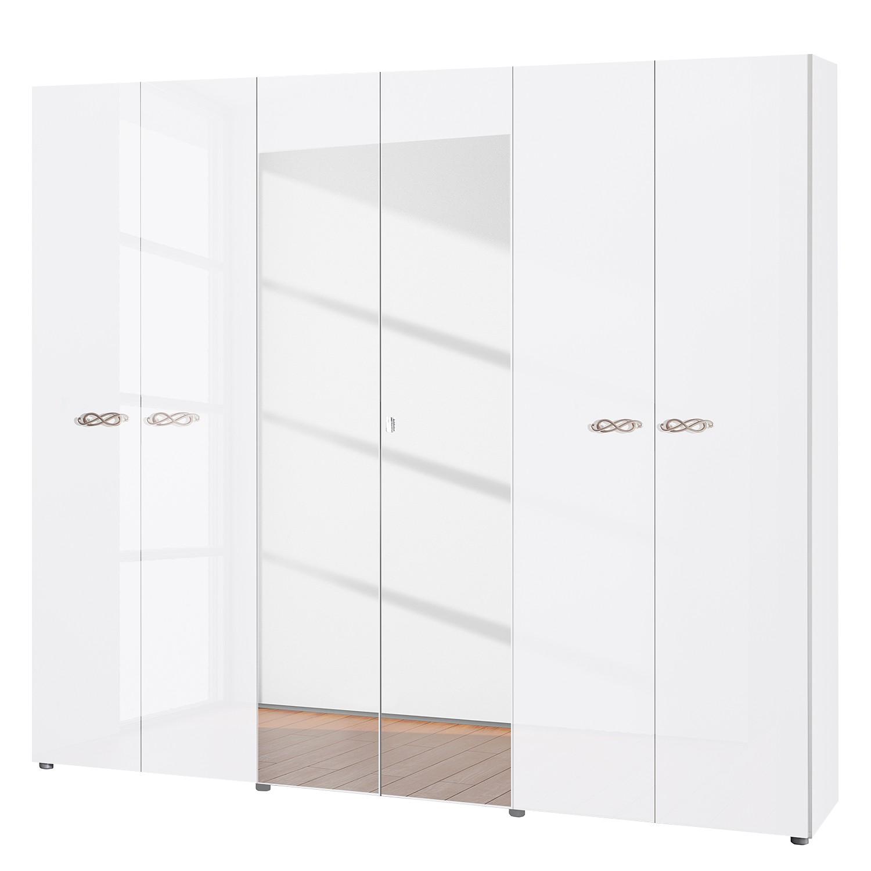 goedkoop Draaideurkast Ambrosia hoogglans wit 237cm 6 deurs 214cm 2 spiegeldeuren Zonder kroonlijst Lc Mobili