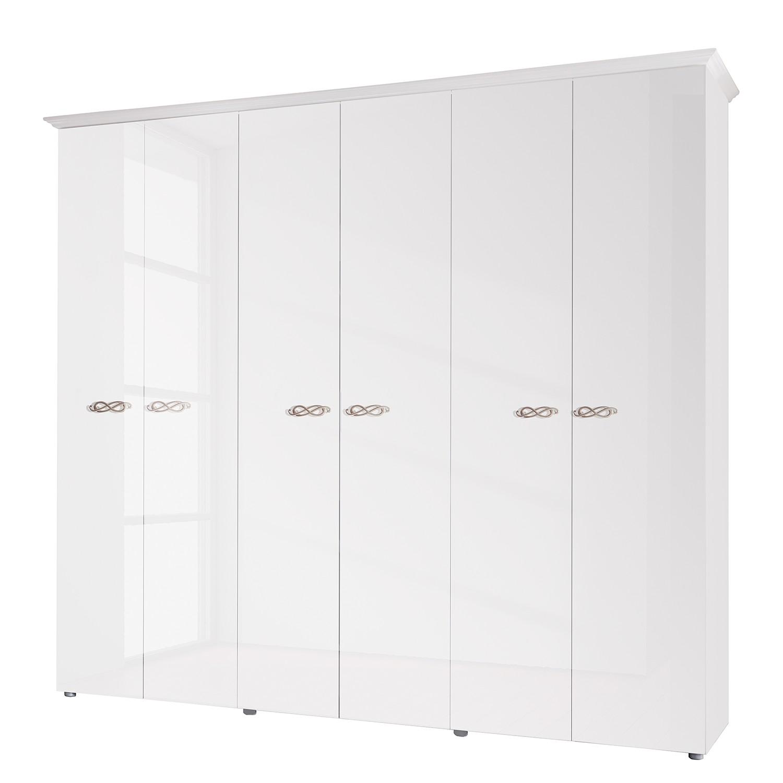 goedkoop Draaideurkast Ambrosia hoogglans wit 237cm 6 deurs 214cm Zonder spiegeldeuren Met kroonlijst Lc Mobili