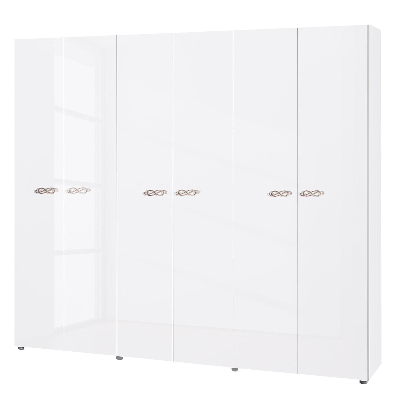 goedkoop Draaideurkast Ambrosia hoogglans wit 237cm 6 deurs 214cm Zonder spiegeldeuren Zonder kroonlijst Lc Mobili