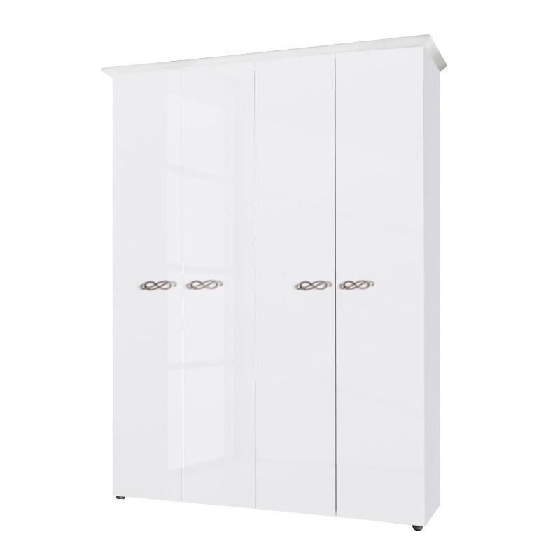 goedkoop Draaideurkast Ambrosia hoogglans wit 159cm 4 deurs 240cm Zonder spiegeldeuren Met kroonlijst Lc Mobili