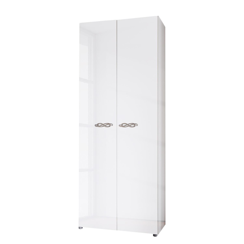 goedkoop Draaideurkast Ambrosia hoogglans wit 81cm 2 deurs 240cm Zonder spiegeldeuren Zonder kroonlijst Lc Mobili