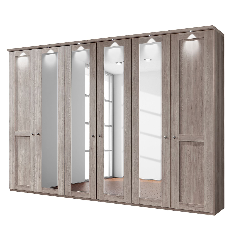 goedkoop energie A+ Draaideurkast Bergamo LED verlichting Truffeleikenhouten look 300cm 6 deurs 4 spiegeldeuren Met kroonlijst Wiemann
