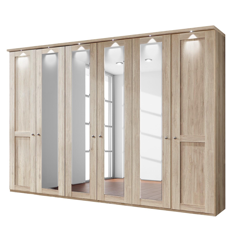 goedkoop energie A+ Draaideurkast Bergamo LED verlichting Grof gezaagd eikenhouten look 300cm 6 deurs 4 spiegeldeuren Met kroonlijst Wiemann