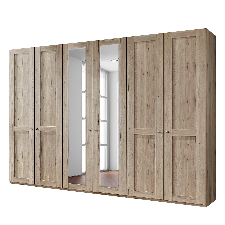 goedkoop Draaideurkast Bergamo Zonder verlichting Santana eikenhouten look 300cm 6 deurs 2 spiegeldeuren Zonder kroonlijst Wiemann