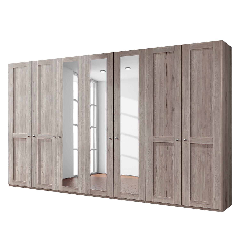 goedkoop Draaideurkast Bergamo Zonder verlichting Truffeleikenhouten look 350cm 7 deurs 3 spiegeldeuren Zonder kroonlijst Wiemann