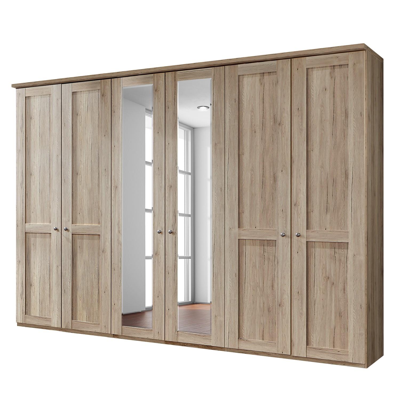 goedkoop Draaideurkast Bergamo Zonder verlichting Santana eikenhouten look 300cm 6 deurs 2 spiegeldeuren Met kroonlijst Wiemann