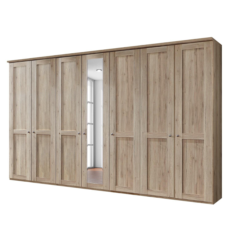 goedkoop Draaideurkast Bergamo Zonder verlichting Santana eikenhouten look 350cm 7 deurs 1 spiegeldeur Met kroonlijst Wiemann