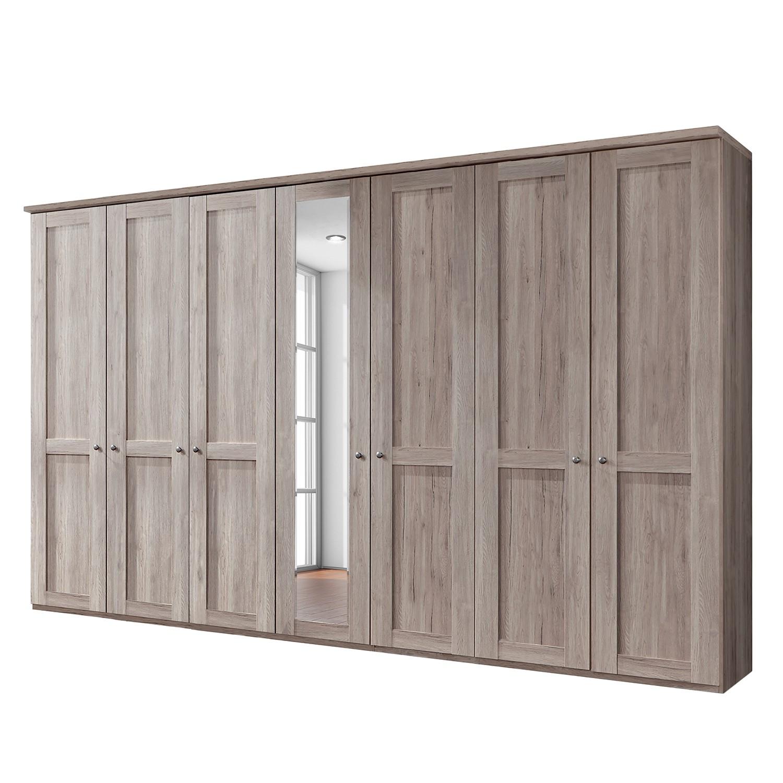 goedkoop Draaideurkast Bergamo Zonder verlichting Truffeleikenhouten look 350cm 7 deurs 1 spiegeldeur Met kroonlijst Wiemann