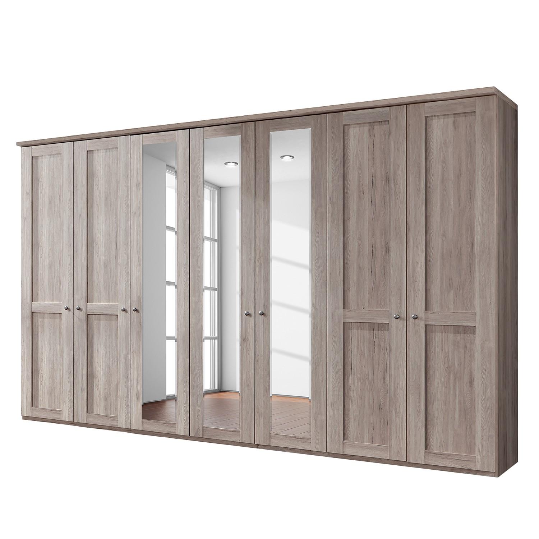 goedkoop Draaideurkast Bergamo Zonder verlichting Truffeleikenhouten look 350cm 7 deurs 3 spiegeldeuren Met kroonlijst Wiemann
