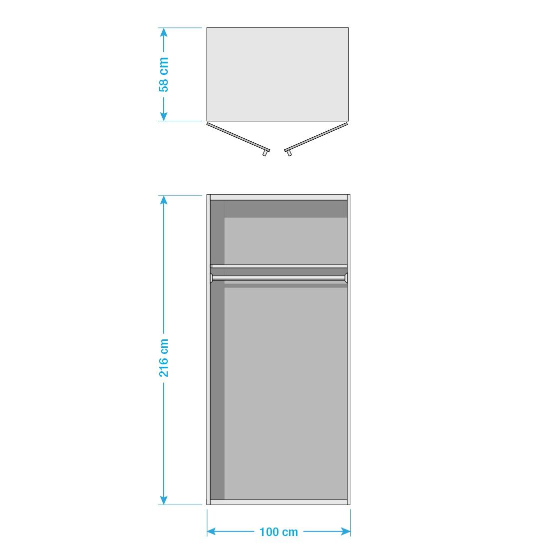 goedkoop Draaideurkast Brooklyn III wit wit gelakt 100cm 2 deurs 216cm Express Mobel