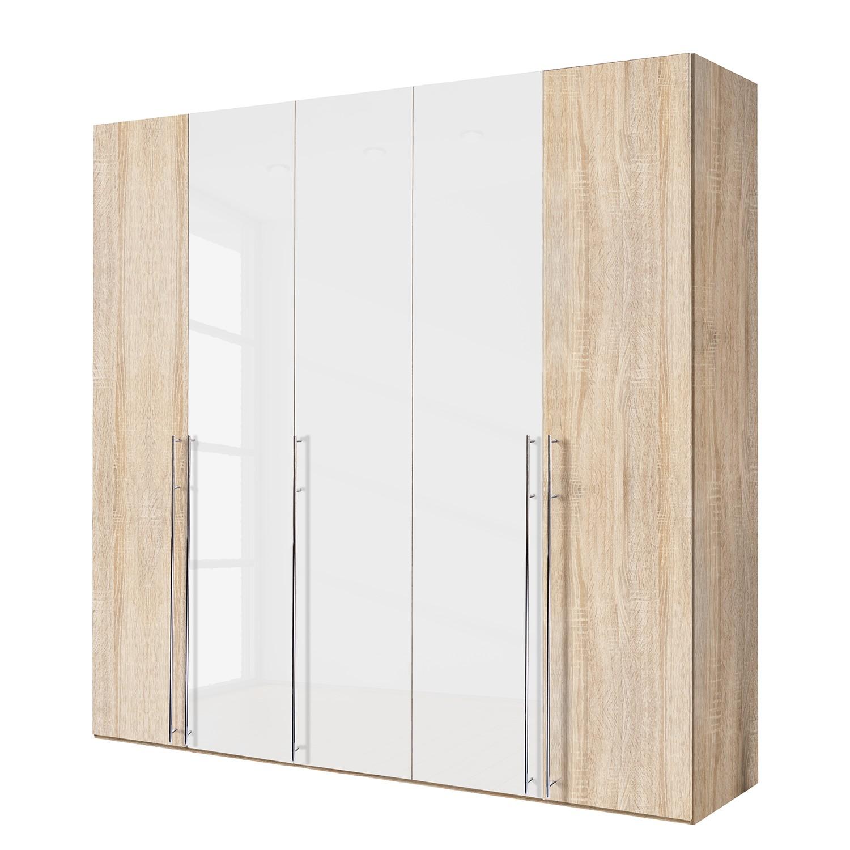 goedkoop Draaideurkast Brooklyn XIII Sonoma eikenhouten look hoogglans wit 250cm 5 deurs 216cm Express Mobel