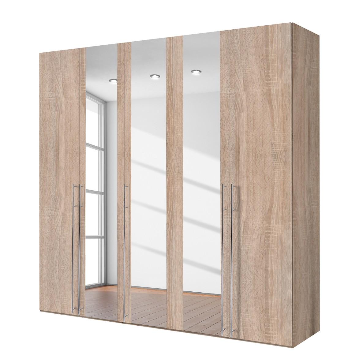 goedkoop Draaideurkast Brooklyn XIII Sonoma eikenhoutkleurig spiegelglas 250cm 5 deurs 236cm Express Mobel