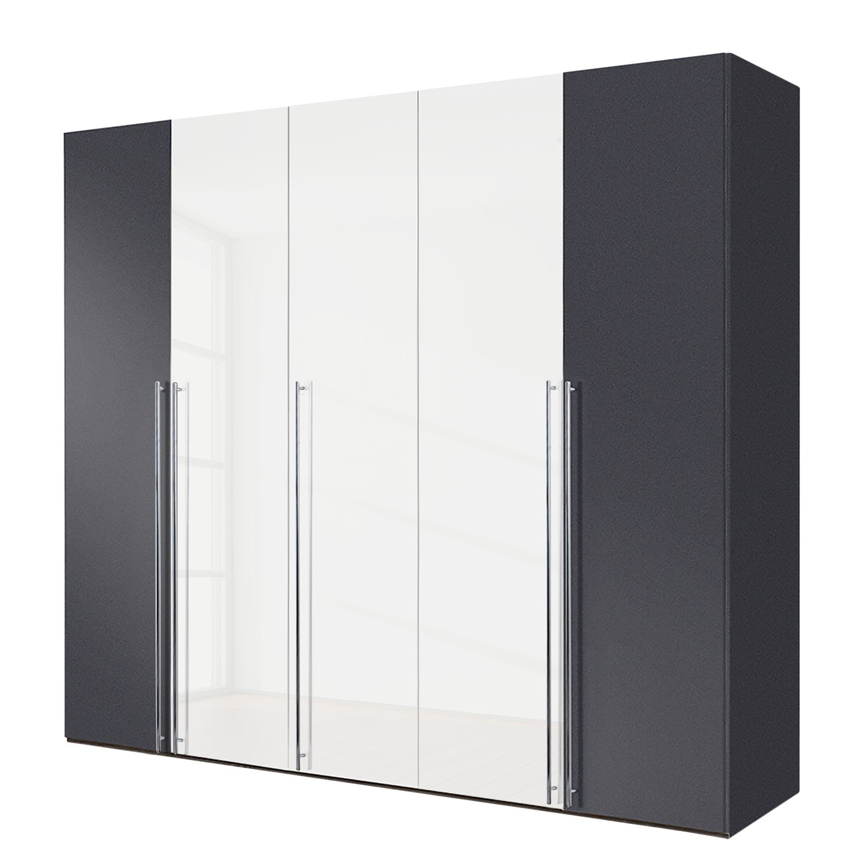 goedkoop Draaideurkast Brooklyn XIII Grafietkleurig hoogglans wit 250cm 5 deurs 216cm Express Mobel