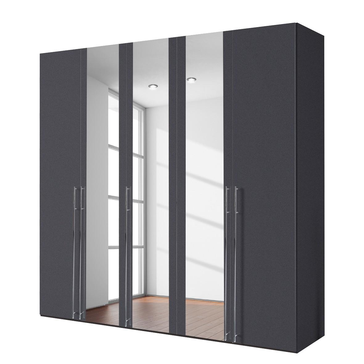 goedkoop Draaideurkast Brooklyn XIII Grafiet spiegelglas 250cm 5 deurs 236cm Express Mobel