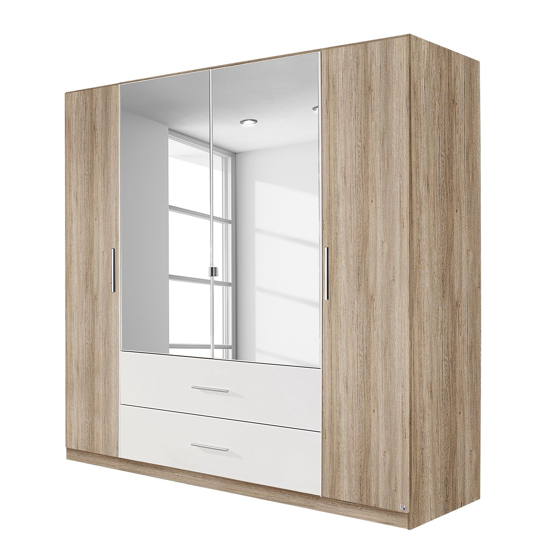 Armoire à portes battantes Bustas - Imitation chêne de San Remo clair / Blanc alpin - 181 cm (4 portes), Rauch Packs