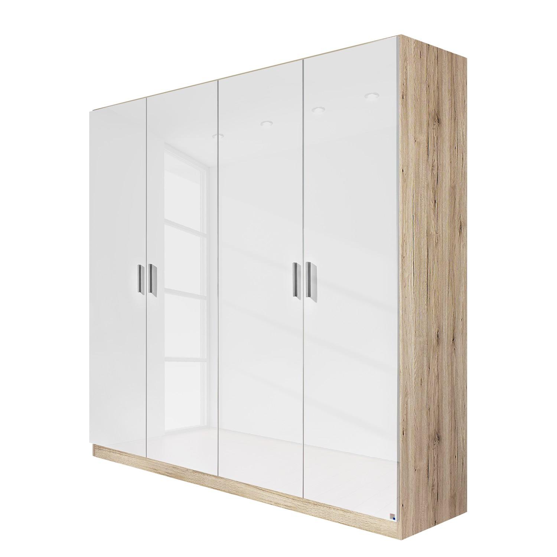 goedkoop Draaideurkast Celle Sonoma eikenhouten look hoogglans wit 181cm 4 deurs Rauch Packs