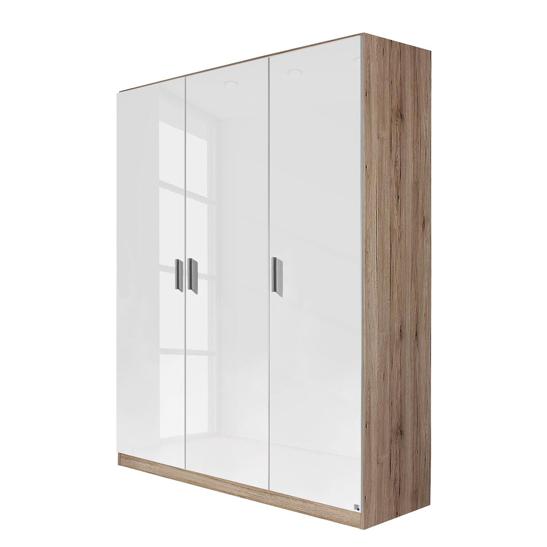 goedkoop Draaideurkast Celle Hoogglans wit Lichte San Remo eikenhouten look 136cm 3 deurs Rauch Packs
