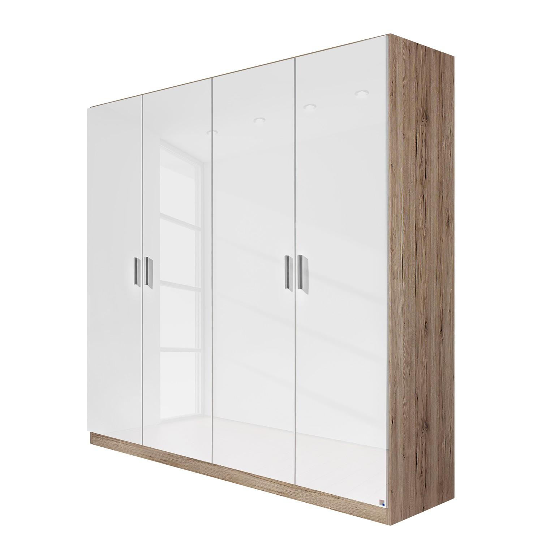 goedkoop Draaideurkast Celle Hoogglans wit Lichte San Remo eikenhouten look 181cm 4 deurs Rauch Packs