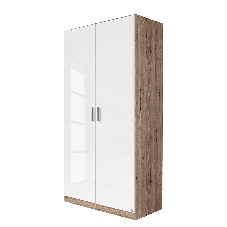 goedkoop Draaideurkast Celle Hoogglans wit Lichte San Remo eikenhouten look 91cm 2 deurs Rauch Packs