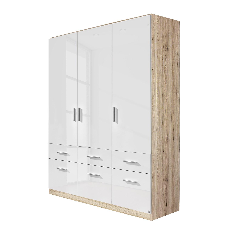 goedkoop Draaideurkast Celle I Sonoma eikenhouten look hoogglans wit 136cm 3 deurs Rauch Packs