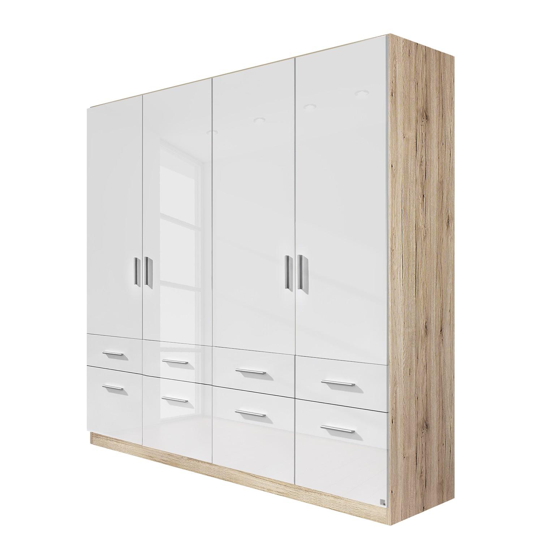 goedkoop Draaideurkast Celle I Sonoma eikenhouten look hoogglans wit 181cm 4 deurs Rauch Packs