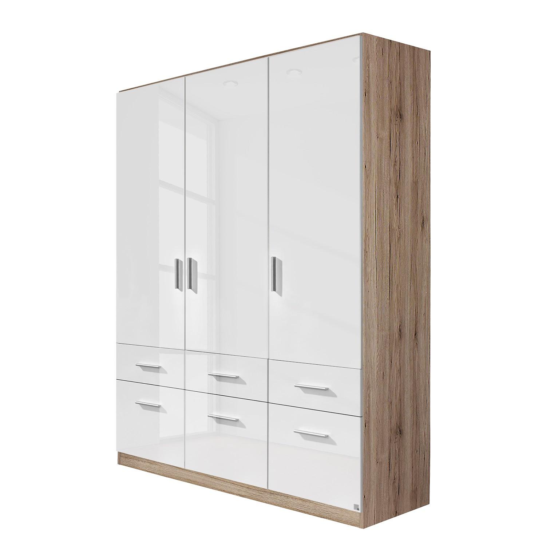 goedkoop Draaideurkast Celle I Hoogglans wit Lichte San Remo eikenhouten look 136cm 3 deurs Rauch Packs