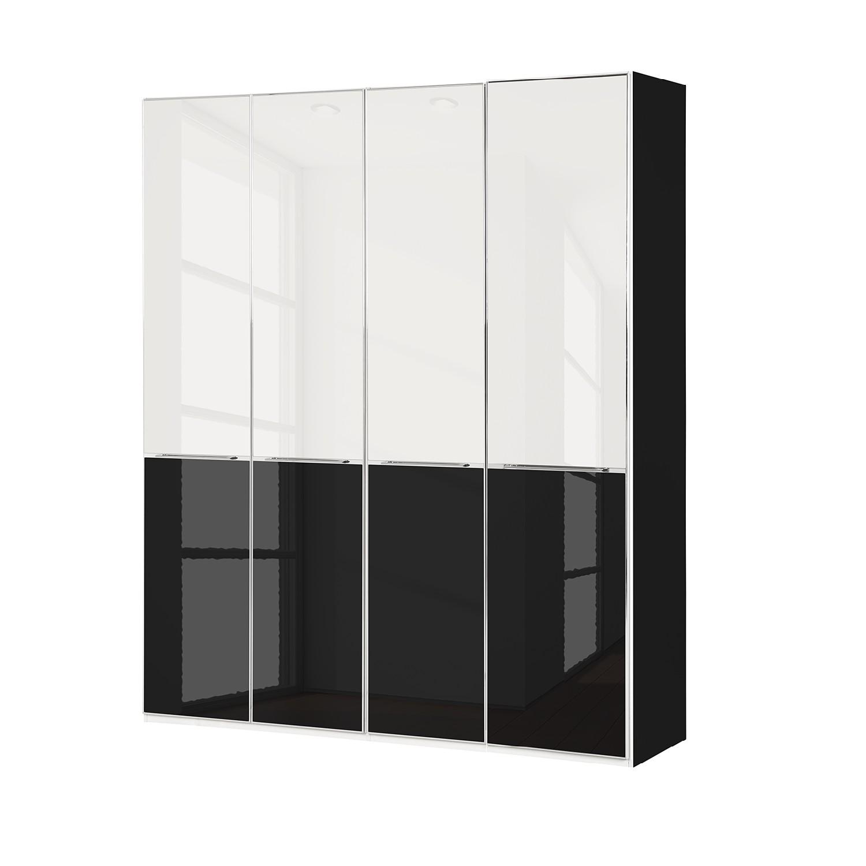 goedkoop Draaideurkast Chicago I Glas wit glas zwart 200cm 4 deurs 216cm Wiemann