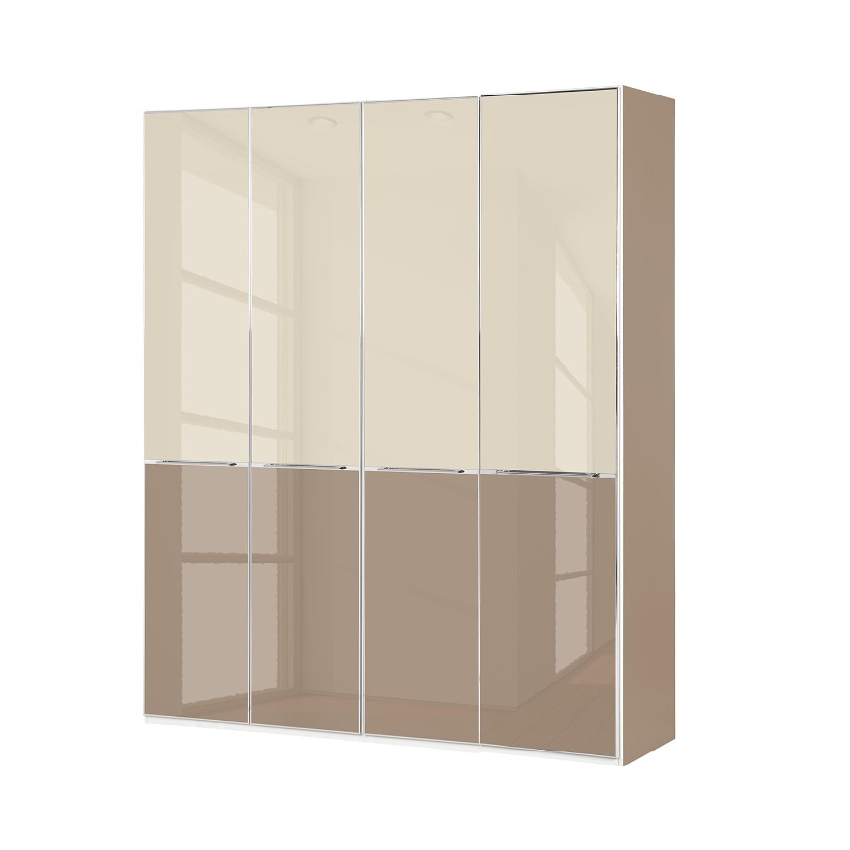 goedkoop Draaideurkast Chicago I Magnoliakleurig glas Saharakleurig glas 200cm 4 deurs 216cm Wiemann