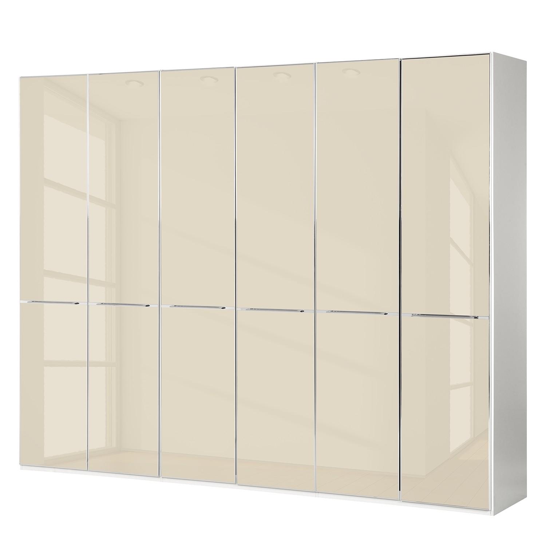goedkoop Draaideurkast Chicago I Alpinewit magnoliakleurig glas 300cm 6 deurs 216cm Wiemann
